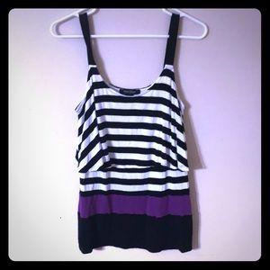 Small black, white & purple striped tank top